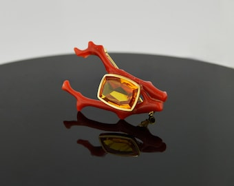 Vintage (1960's) Citrine and Coral 18k Yellow Gold Brooch