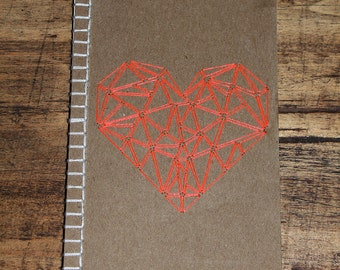 Embroidered handmade notebook with Geometric Heart pattern