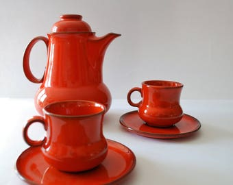 Tea service. Handmade. Teapot, porcelain cups and saucer 2 red. vintage tea set.