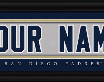 San Diego Padres Jersey Stitch Personalized Print - FRAMED - MLB