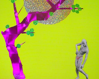 """Original art, """"The Plum Tree"""" Japan dance, photography, hologram paper, ink A3 size collage"""