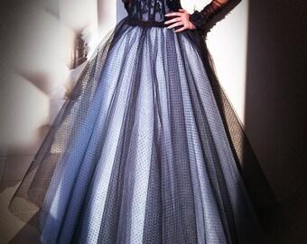 Princess Black & White Tulle Bridal Skirt. Bridal Separates. Full Circle Wedding Tulle Skirt. Ball Gown Wedding Skirt. Tulle Long Skirt.