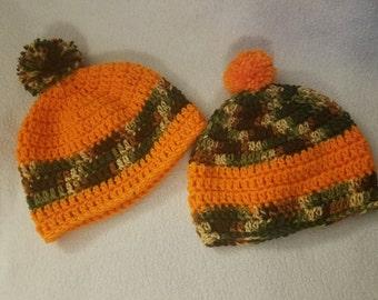 Camo and Orange/Pink Hats