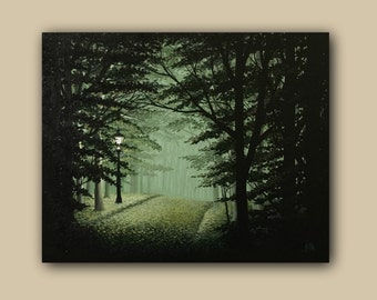 """Landscape Acrylic Realism Painting Dark Forest """"Light on Your way"""""""