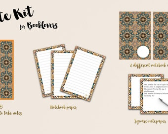 Bookies for Booklovers - Printable bookmarks for taking notes, notebook papers and square notepapers.
