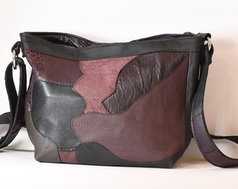 Multicoloured, hobo style, upcycled leather bag from repurposed leather jackets