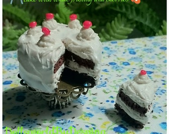 Polymer clay miniature velvet cake with frosting, cherries for barbie size dolls
