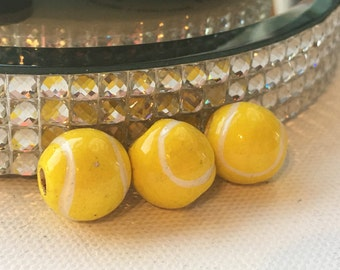 Peruvian Ceramic Tennis Ball Beads, Large (set of 3)