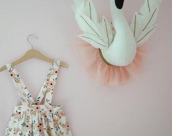 Toddler Girls Floral Suspender Skirt