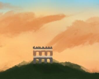 Abandoned - Digital Art PDF (ruins, sunset)