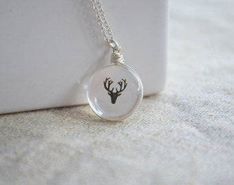 Gold deer head in Glass ball necklace