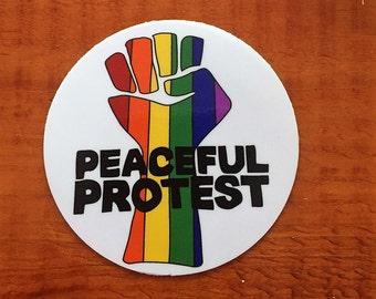 Gay Pride Protest Sticker, Protest, Gay Pride,Equality,  Pride Sticker, Gay Art, Rainbow Art, Pride Art, Rainbow Sticker, Rainbow, Gay Gifts