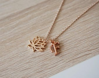 lotus flower initial necklace, gold rose pink gold, design necklace trend