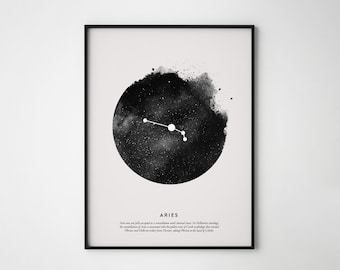 Aries Constellation Print, Constellation Print, Aries Print, Printable Poster, Instant Print Art, Wall Printables, Scandinavian print art