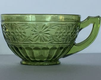 3 Vintage Daisy Heritage Number 620 Avocado Green Cups by Indiana Glass Company