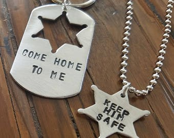 Sheriff and Sheriff's Significant Other Keychain and Necklace Set