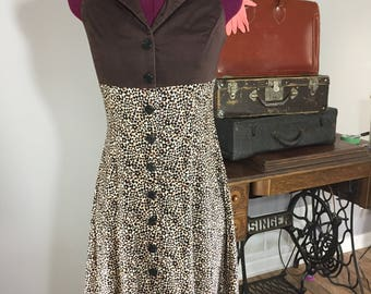 Vintage Sleeveless Collared Brown Cotton and Floral Spandex Dress
