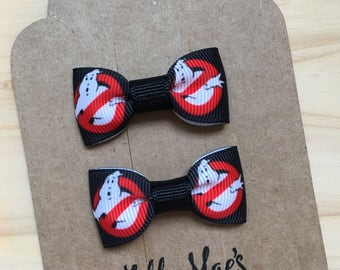 Ghost Busters Inspired Mini Tuxedo Hair Bows, baby & toddler hair clip, mini bow