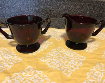 Vintage Ruby Red Glass Sugar and Creamer Set