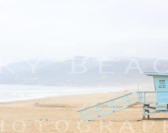 Zuma Beach Malibu California Coast Pacific Coast Highway Large Beach Print Lifeguard Stand Fine Art Photograph Canvas Print Panorama or Full