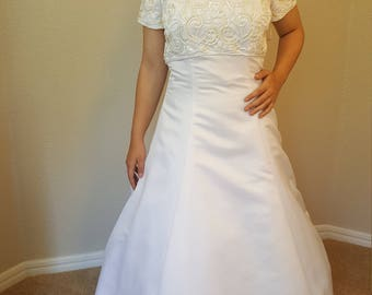 Gorgeous white satin wedding dress with sequence and pearls Size 14 Cathedral Train