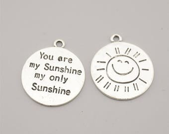 10pcs 24x28mm Antique Silver You Are My Sunshine My Only Sunshine Charm Pendants,Sun Charm Pendants,Letters Charm Pendants ZH960