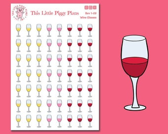 Wine Glasses Planner Stickers - Wine Time - Planner Stickers - Wine Glasses - Wine - Adult Beverage Stickers - Drinking Stickers - [Bev 1-09