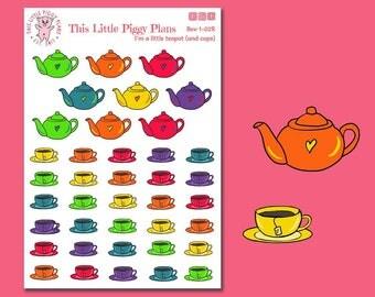 I'm a Little Teapot Planner Stickers - Tea Planner Stickers - Tea Time - Teapot - Tea Kettle - Teacups - Planner Stickers - [Bev 1-02R]