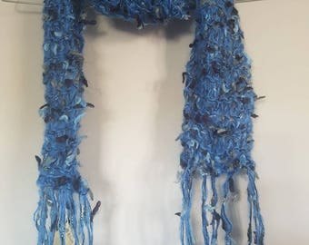 Ladies blue fringed scarf