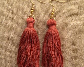 Burnt Orange Long Tassel Beaded Earrings