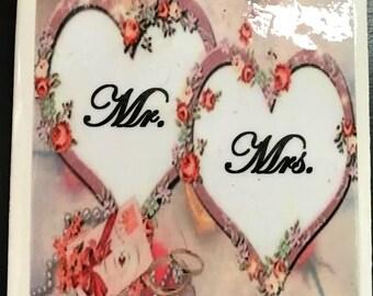 Ceramic Tile Coasters - set of 4 - Wedding