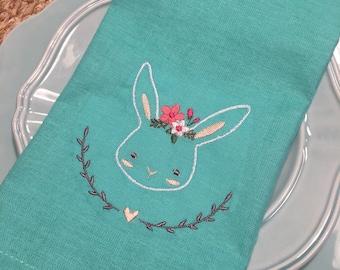 Girl Bunny Embroiderd Hand Towel