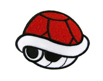 Super Mario Red Turtle Shell Super Mario Patches Kids Patches Applique Embroidered Iron on Patch