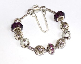 "STUNNING silver Bracelet with silver Charms and purple ""Pandora style"""