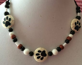 Paw Print necklace, with accent beads, for the pet lovers