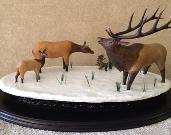 Wood Carving, Elk Carving, Fine Art, Collectibles, Home Decor