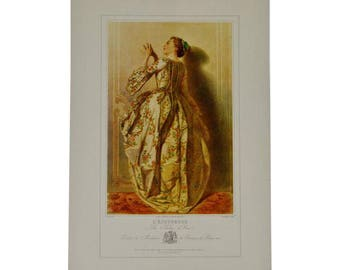 Vintage 1967 Lithograph of 19th Century Parisian Fashion Titled L' Ecouteuse