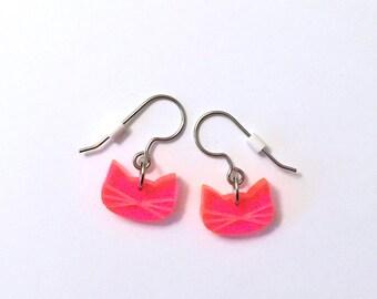 Tiny Fluorescent Pink PussyCat Earrings | Women's March Earrings | Pussy Grabs Back Earrings  | Fun Pink Cat Earrings | Pink Pussy Hat