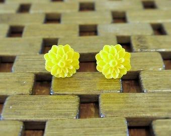 Yellow Dahlia Flower Stud Earrings