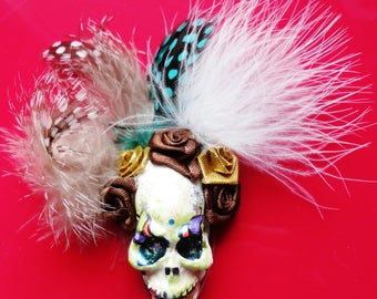 Green Party of death Mexican Calacas feather brooch