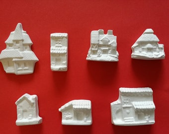Plaster figures - set of small houses
