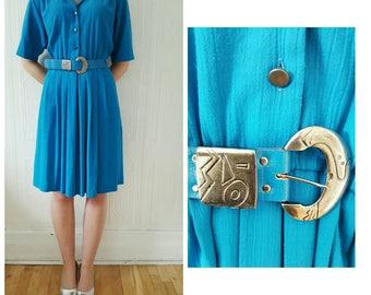 Vintage 1980s, shirt dress, blue, matching belt, size MEDIUM