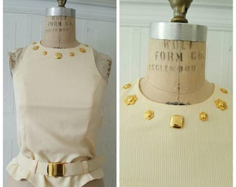 Vintage 80s top, sleeveless Joseph Ribkoff cream peplum top with belt and gold appliqué, size small