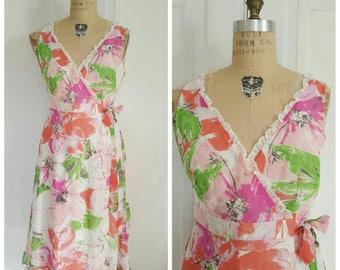 Vintage 90s floral chiffon wrap dress, pink, white, orange, frilly sleeveless day dress, medium large