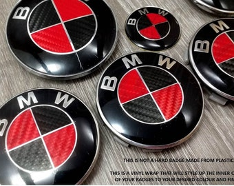 BLACK & red carbon fiber BMW badge emblem overlay hood trunk rims fits all BMW