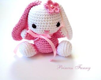 crochet bunny-rabbit -knitted stuffed animal-amigurumi- bunny-shower gift-birthday gift-doll-bunny
