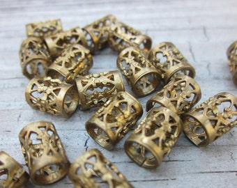 Filigree Antique Brass Beads // 8x5mm Brass barrel beads // Large hole beads //