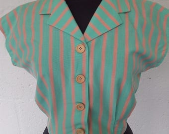 1940's Stripy Summer Blouse