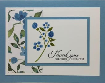 Thank You Floral Card, Handmade Thank You Card, Floral Thanks Greeting Card, Stampin Up Thank You, Blue Thank You Card, Greeting Card