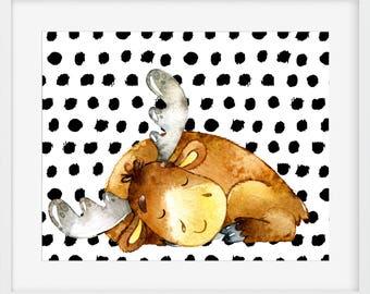 Nursery Art, Moose Print, Nursery Art, Kid's Room, Moose Art Print, Nursery Decor, Nursery Wall Illustration, Home Decor Wall Prints